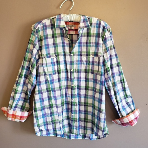 Ted Baker London Other - Ted Baker London Purple Green Blue Plaid Shirt XL